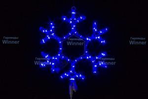 Снежинка WN LED дюралайт, 40см, синяя, мерцающая, соед., IP 65 9053-40B