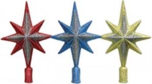 Наконечник Рождественская звезда 24см, 3цв., искра с блест. Е 6065