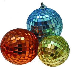 Набор шаров Д=7см*3шт., зеркальные квадраты в ПВХ Е 92278