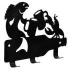 Вешалка Рак и щука 13,5*10,5 см, 3 крючка, металлическая