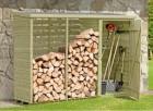 Деревянный шкаф-сарай ИЗЕО с дровницей 280х100х200 см, 2,8 куб.м, НЕ окрашенный