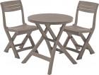 Комплект мебели JAZZ SET cappuccino (стол+2 стула), полипропилен под дерево, балконный 17204593