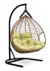 Кресло-кокон подвесное FISHT горячий шоколад+зеленая подушка, до 180 кг ЦН
