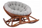 Кресло-качалка Papasan Rocker Chair с подушкой, цвет коньяк