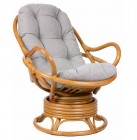 Кресло-качалка Papasan Swivel Rocker с подушкой, цвет мед