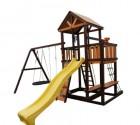 Деревянный детский игровой комплекс Perfetto Sport RIMINI + КАЧЕЛИ ПАУТИНА  100 см PS-302