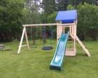 Деревянный игровой комплекс для дачи ИЗЕО с песочницей и удлиненным качельным модулем