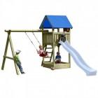 Деревянный игровой комплекс для дачи ИЗЕО с песочницей и качельным модулем