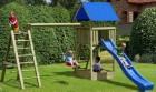 Деревянный игровой комплекс для дачи ИЗЕО с песочницей, качельным модулем и большой лестницей