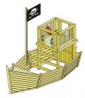 Деревянный игровой комплекс-песочница для дачи Пиратский корабль, НЕ окрашенный