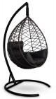Кресло-кокон подвесное ALICANTE коричневое+черная подушка, до 150 кг ЦН