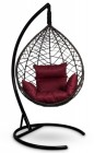 Кресло-кокон подвесное ALICANTE коричневое+бордовая подушка, до 150 кг ЦН