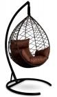 Кресло-кокон подвесное ALICANTE черное+коричневая подушка, до 150 кг ЦН
