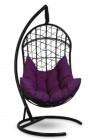 Кресло-кокон подвесное BARSELONA черное+фиолетовая подушка, до 150 кг ЦН