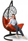 Кресло-кокон подвесное BARСELONA черное+оранжевая подушка, до 150 кг ЦН