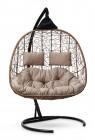 Кресло-кокон подвесное SEVILLA TWIN горячий шоколад+бежевая подушка, до 180 кг ЦН
