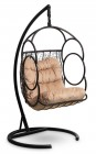 Кресло-кокон подвесное SENATORE черное+бежевая подушка, до 180 кг ЦН