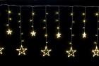 Бахрома-звезда WN LED 138л, тепло-белый, 3м, прозрач. пр., стык., IP 20 ww.02.5T.138+S