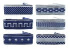 Лента 3,9см*2м тканевая синий с серебром Е 50827