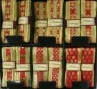 Лента 3,9см*2м тканевая красный с золотым  Е 50826