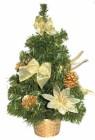 Елка 36см, 4цв., в корзине эксклюзив. украшен. цветы/фрукты с веточками/банты/шишки Е 80394