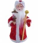Дед Мороз музыкальный 25см, со свечой/фонарем, красная шуба Е 60802