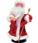 Дед Мороз музыкальный 25см, со свечей/фонарем, красная/синяя шуба Е 60808