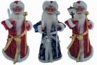Дед Мороз музыкальный 46см, со свечей/фонарем, красная/синяя шуба Е 60815