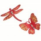 Бабочка/Стрекоза со стразами красно-золотые 12,5 х 10 см CJ19012R
