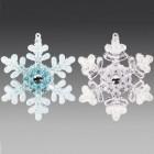 Снежинка двусторонняя, асс. из 2-х: прозрачная, голубая, 9х10 см