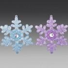 Снежинка двусторонняя, асс. из 2-х: прозрачно-голубая, прозрачно-лавандовая, 9х10 см