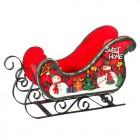 Сани Декоративные с рождественским рисунком 30,5 х 14 х 17 см красные (дерево/металл) KH69121