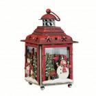Подсвечник Фонарь рождественский Снеговичок в лесу 12,5х12,5х21,5 см красный (мет/дер/стек) KH71964