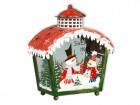 Подсвечник Фонарь рождественский С красной крышей и снежинками 18,5х10,2х21,5 см (мет/стек) KH68298