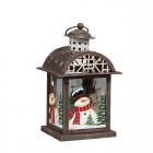 Подсвечник Фонарь Домик рождественский с мансардной крышей 14,5 х 13 х 23 см (металл/стекло) KH71713