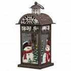 Подсвечник Фонарь Домик рождественский с мансардной крышей 15 х 13 х 30 см (металл/стекло) KH71712