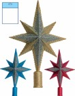 Наконечник Рождественская звезда 29см, 4цв., искра с блест.  Е 6064