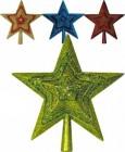 Наконечник Звезда 25см, 4цв., объемная обсыпан. самоцветами, бусами, в ПВХ Е 80340