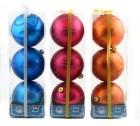 Набор шаров Д=10см*3шт., 6цв., матовый с узором, в ПВХ Е 91325
