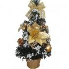 Елка 30см, 4цв., в корзине эксклюзив. украшен. цветы/подарок/банты/шишки с инеем зол. цв. Е 94374