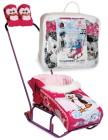 Комплект на санки АВТ Тяни-Толкай Пингвиненок, матрасик+варежки, розовый