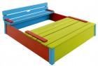 Деревянная песочница для дачи ИЗЕО 150*150 см, с крышкой-лавочкой, НЕ окрашенная