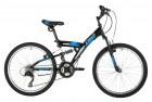 Велосипед 24' двухподвес FOXX Attack черный, 14' 24SFV.ATTAC.14BK1