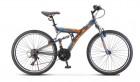 Велосипед 26' двухподвес STELS FOCUS V030 Тёмно-синий/оранжевый 18 ск., 18' LU086305 (А21)