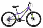 Велосипед 24' хардтейл, рама женская, алюм. ALTAIR AL 24 D диск, 7 ск., фиол./зел., 12' RBKN91647003