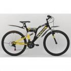 Велосипед MAVERICK 26' двухподвес, S 36 черный-желтый матов., 21 ск.