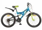 Велосипед 20' двухподвес NOVATRACK SHARK тормоз V-brake, синий, 6 ск. 20SS 6V.SHARK. BL 7