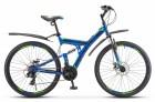 Велосипед 27,5' двухподвес STELS FOCUS MD диск, синий/неон. зелёный 21 ск., 19' (2020) V010 LU083835