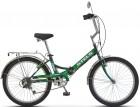 Велосипед 24' складной STELS PILOT-750 черный/зеленый, 6ск., 16'
