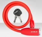 Трос-замок 10*650мм с ключом, красный 84356 СТ540052